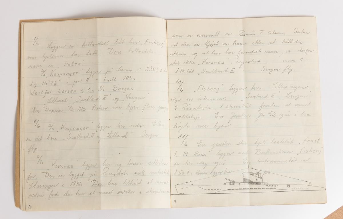Ei lita skrivebok med nedtegnelser over båt- og flytrafikk i Harstad sommeren 1942, ofte illustrert med tegninger av båter.