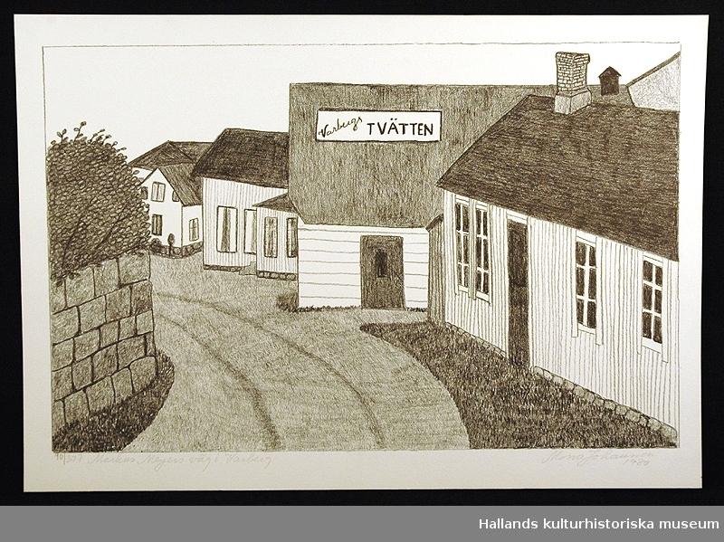 """Svartvit litografi föreställande Markus Meyers väg i Varberg. Märkning: """"Markus Meyers väg i Varberg""""."""