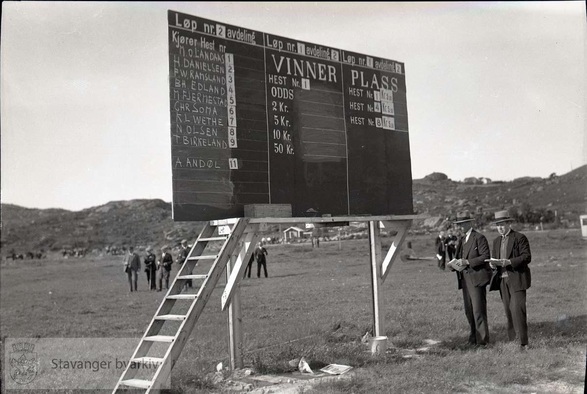 To menn står og noterer ved resultattavla.