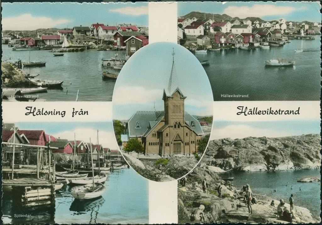 """Vykort med fem motiv från Hälleviksstrand. De två övre bilderna visar fiskeläger, nedre vänstra bilden visar sjöbodar och nedre högra bilden havsbadet. I mitten en bild av kyrkan. Fotografierna är svartvita, kolorerade i blått och rött.  På baksidan av kortet står:  """"Förlag: Firma H Lindenhag, Göteborg.  Handkolorerat foto nr. 8477"""""""