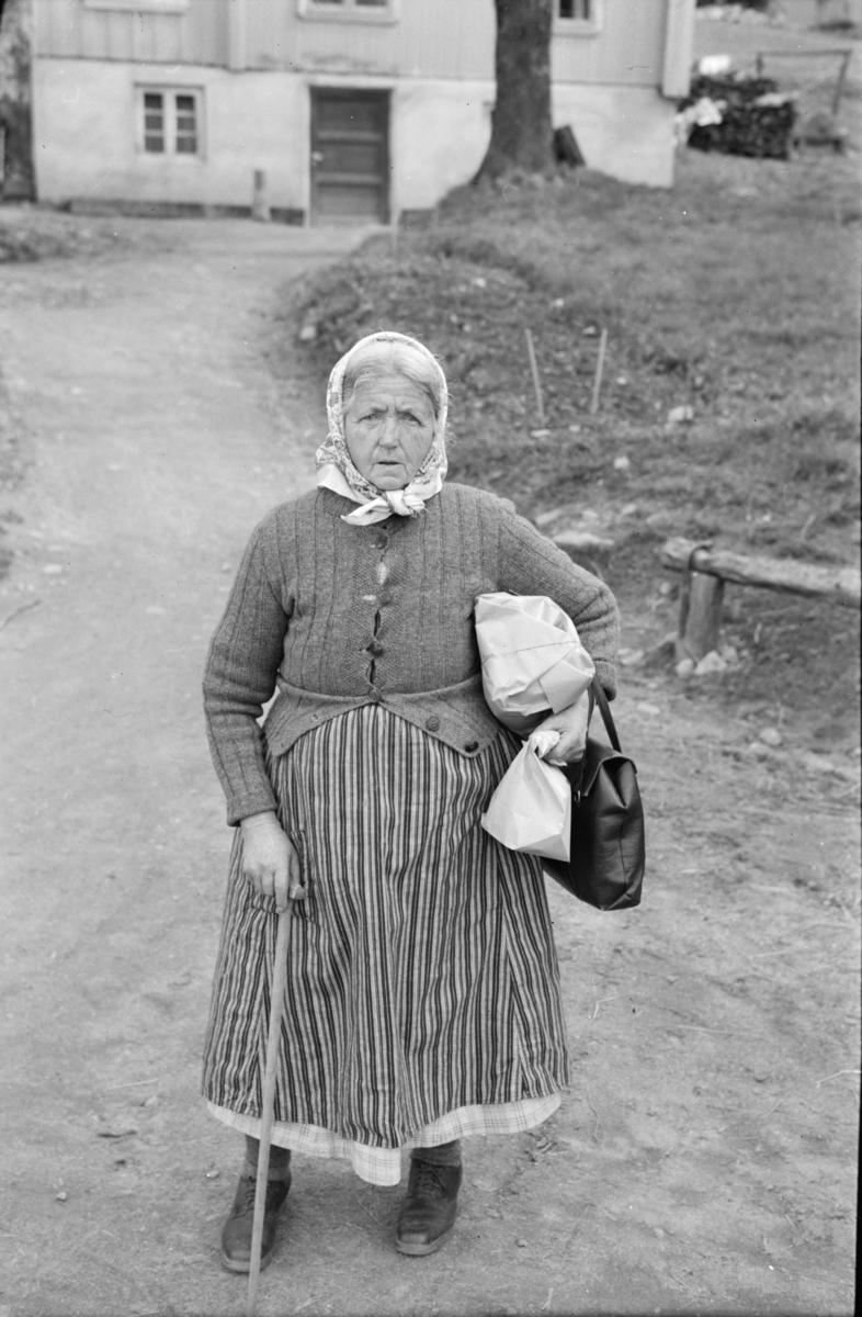 Eldre kvinne på handletur