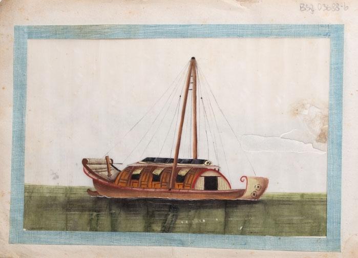 Små maleri av ulike kinesiske fartøyer malt på rispapir. Til sammen 12 ulike illustrajoner montert i en liten hefte.