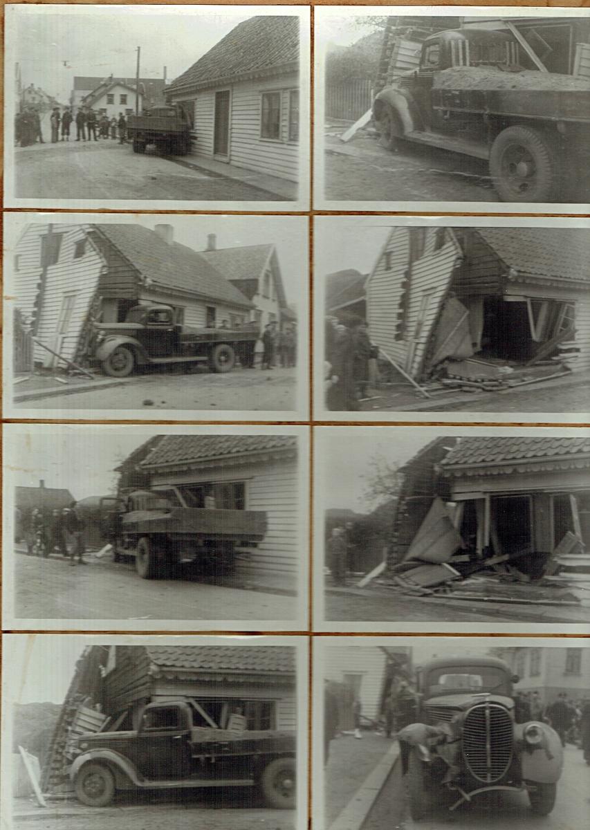 Lastebil som har krasjet inn i bolig, med en tegning av ulykken under.