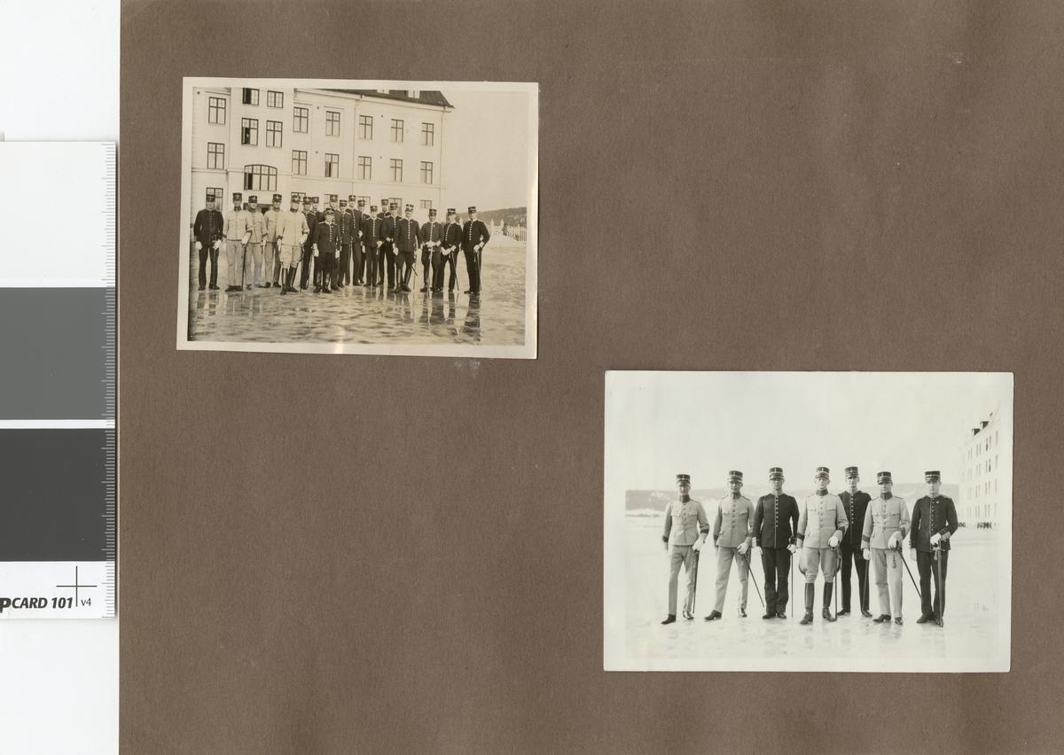 Gruppbild med soldater i kasernmiljö.