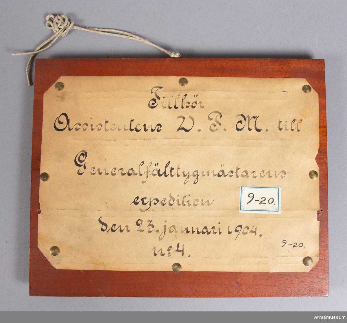 Grupp E V. Mont. på skiva märkt Ass. W.P.M. t Generalfälttygm. exp 1904. Nr 10.