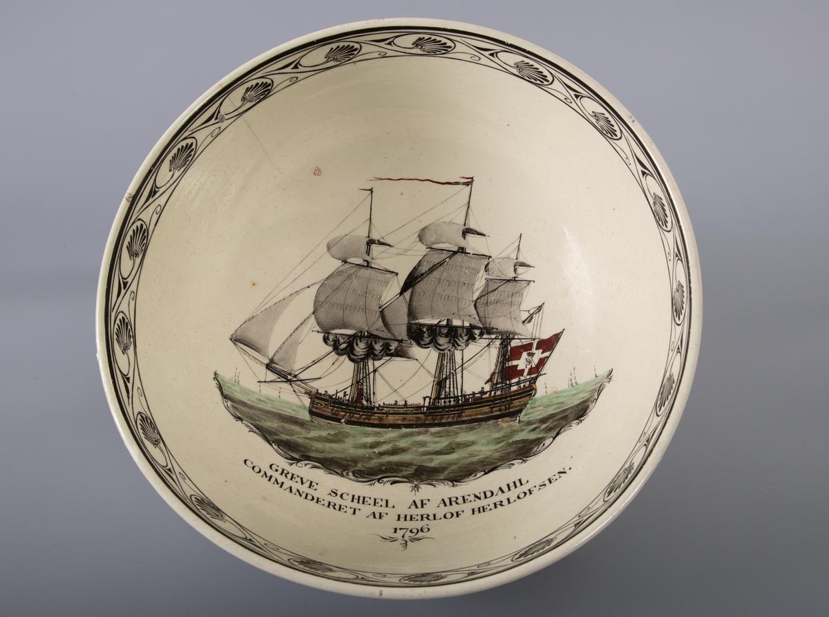 """Skutebilde, fregatt """"Grev Scheel"""", av Arendal. Ført av  Herlof Herlofsen i 1796."""