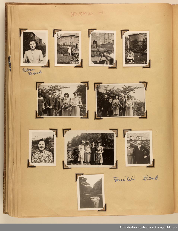 Album laget av Sissel Lie, gift Fosse og senere Bratz (1922-1983). Foto og utklipp fra tiden hun tjenestegjorde i Den norske hærs kvinnekorps i Storbritannia under andre verdenskrig. Hun oppnådde graden fenrik i kontrolltjenesten. Side 59: overskrift NEWCASTLE 1941. Ti foto som er merket med familien Blovd(?).