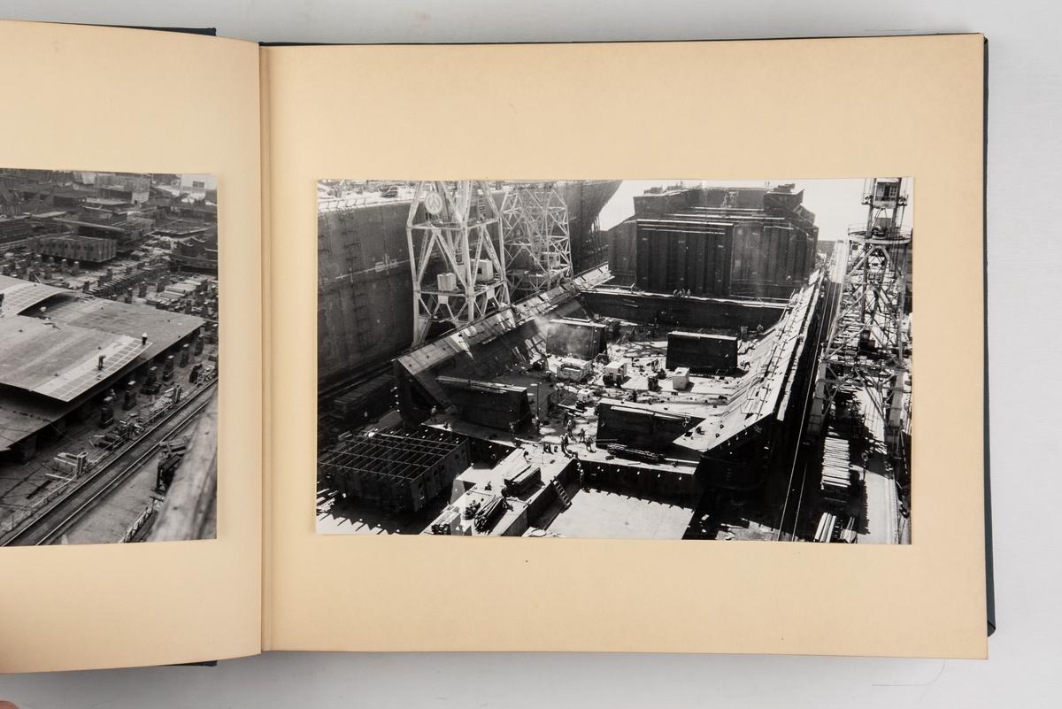 Album med fotografier fra byggingen og leveringen av motorskipet 'Teheran'.