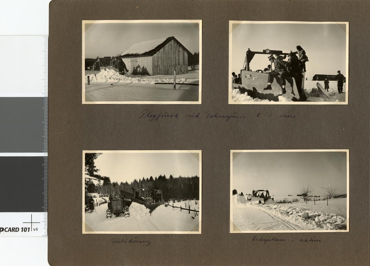 """Text i fotoalbum: """"Studieresa med general Alm till Finland 1.-12. mars 1939. Plogförsök vid Tohmajärvi."""""""