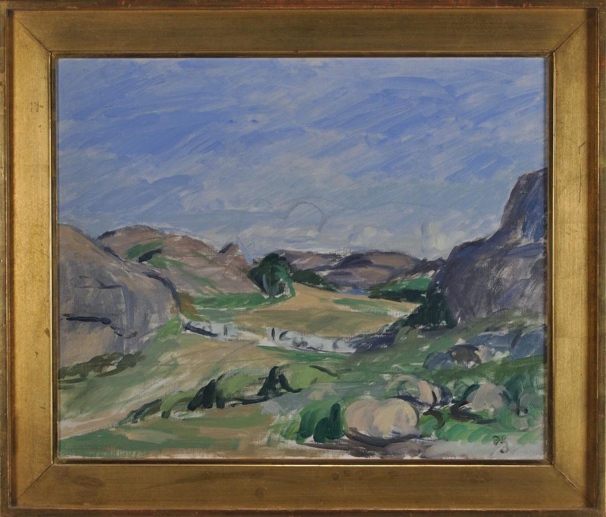 """Oljemålning, """"Landskap"""" av Hugo Zuhr. Förgylld originalram."""