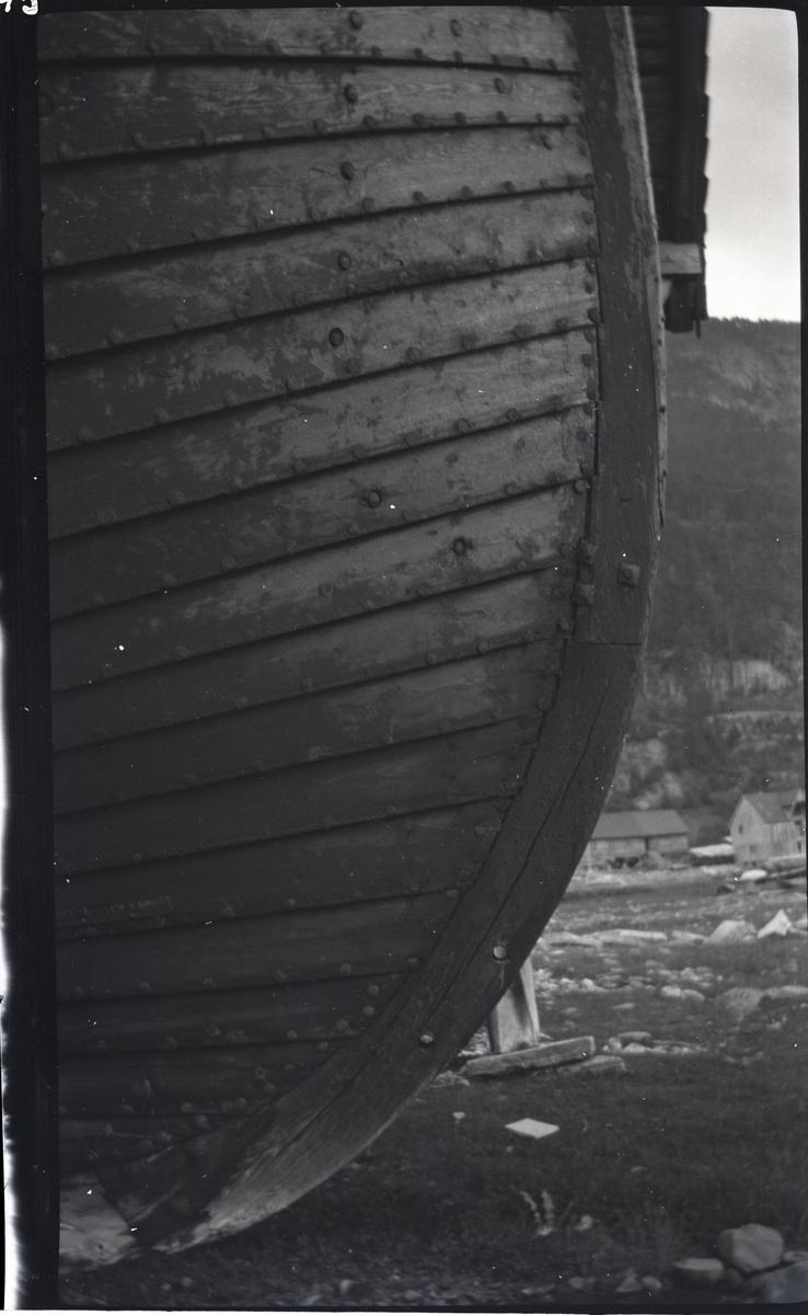 Nordfjordjekt. - Framstevne, - sett fra siden. - Nær.