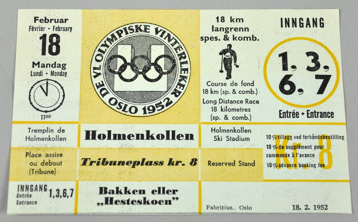 Billett til 18 km langrenn spes. & komb. under vinter-OL i Oslo 1952