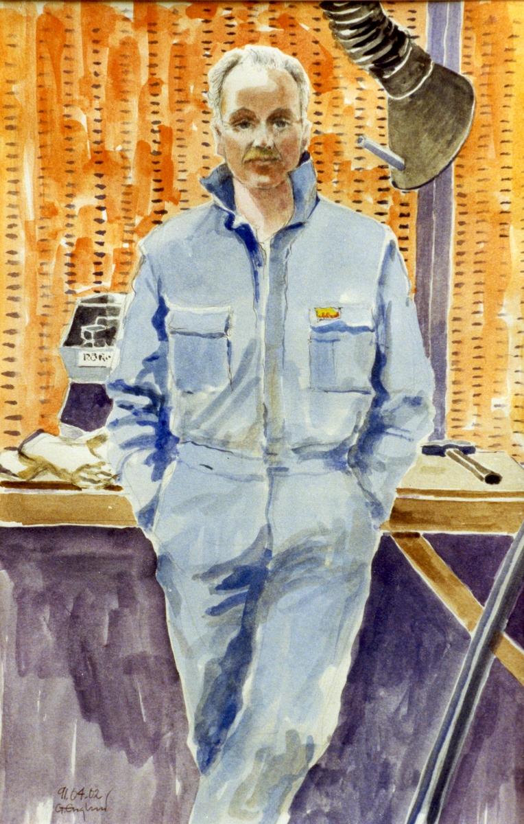 Hans Lindh. 1991.04.02. AGEVE. Georg Englunds akvareller av/till arbetarna i Gävle när AGEVE flyttade 1993. En utställning i Paris 1993. Akvarellerna ställdes även ut i lunchrummet på AGEVE.