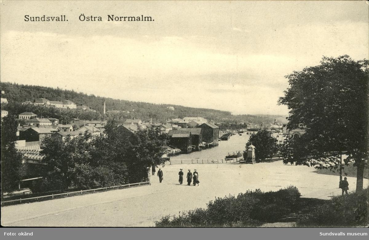 Vykort över östra Norrmalm i Sundsvall.
