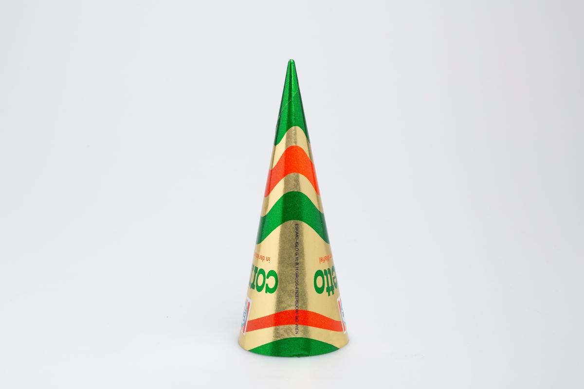 Kjegleformet iskrempapir (kremmerhus). Kremmerhuset er blankt med farger på utsiden, og matt uten farge (hvit) på innsiden. Kremmerhuset har gullfarget bakgrunn med bølgete striper i grønt og rødt. Tekst på midten av papiret.