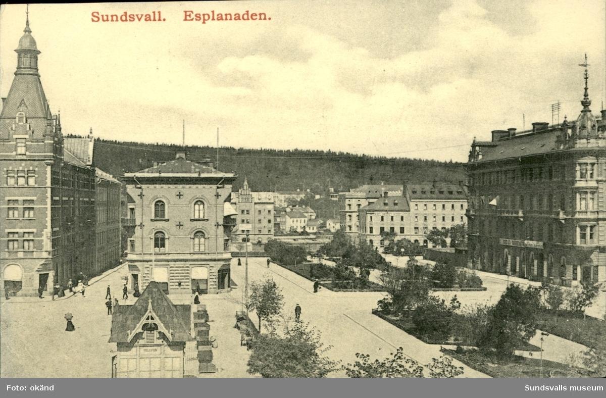 Vykort med motiv över Esplanaden i Sundsvall.