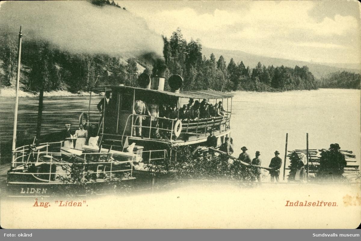 Vykort med motiv på ångbåten Liden i Indalsälven.