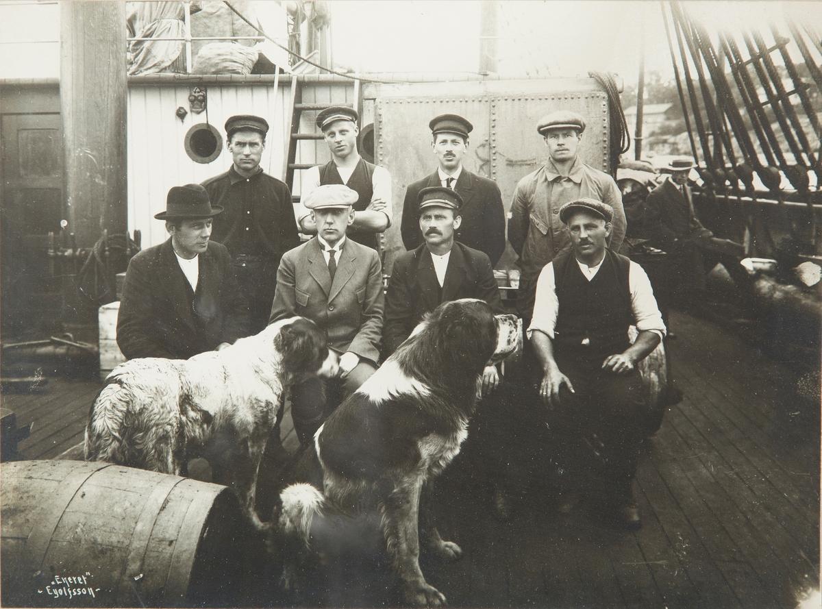Gruppebilde av Roald Amundsen og (antall?) menn på båtdekk, med 2 hunder
