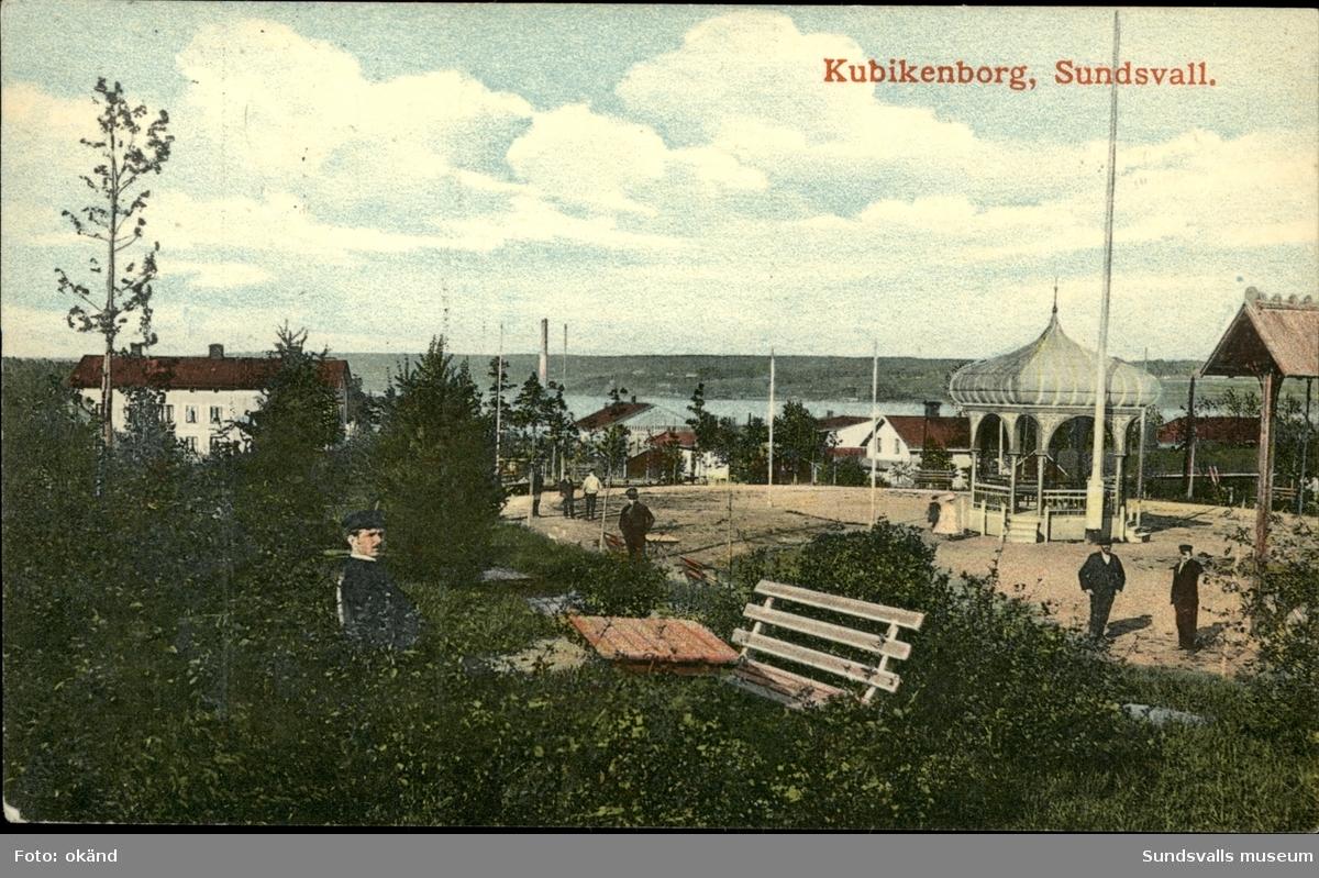 Vykort med motiv över Kubikenborgs folkets park i Sundsvall.