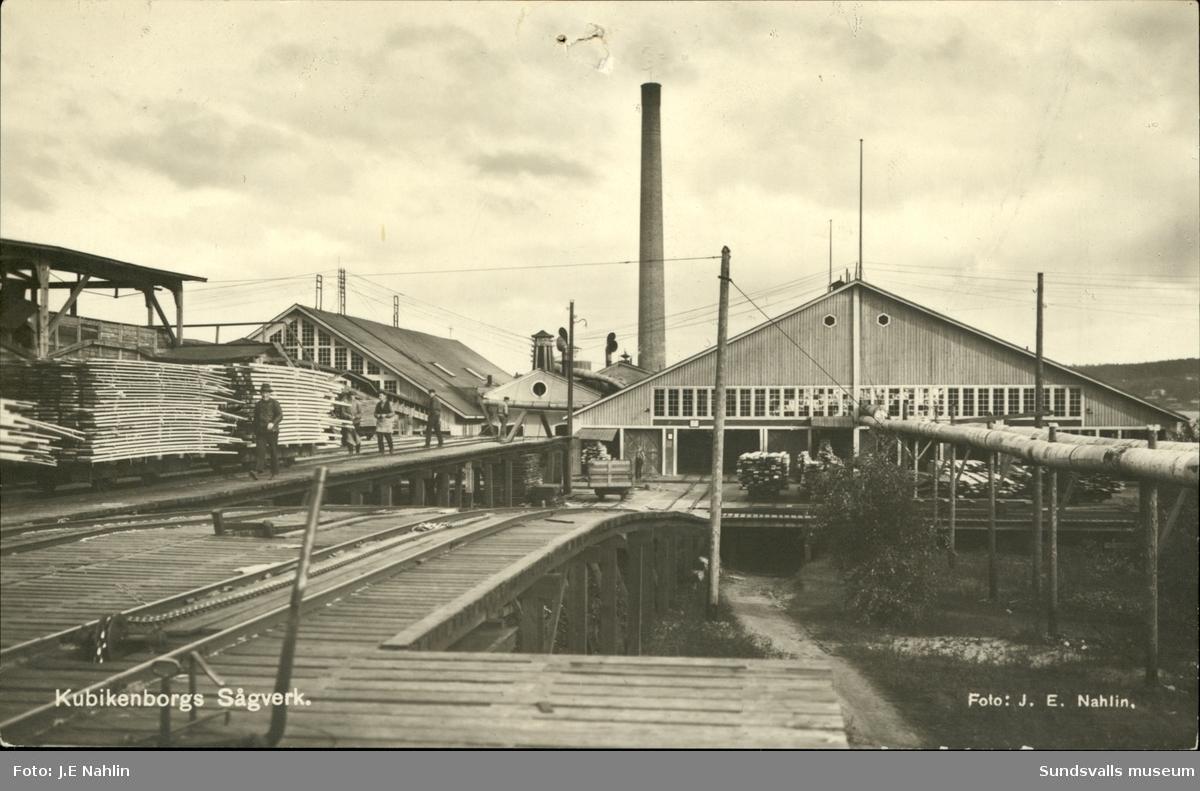 Vykort med motiv över Kubikenborgs sågverk i Sundsvall.