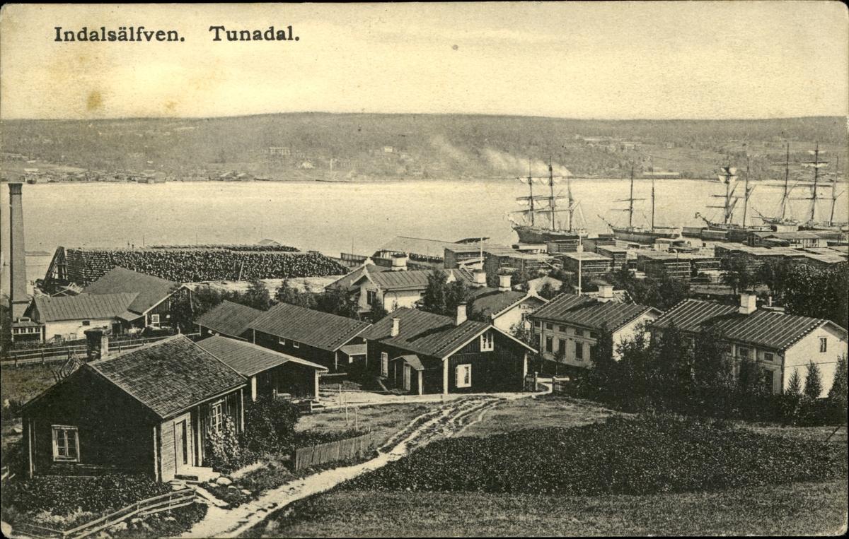 Vykort med motiv över sågverkssamhället Tunadal.