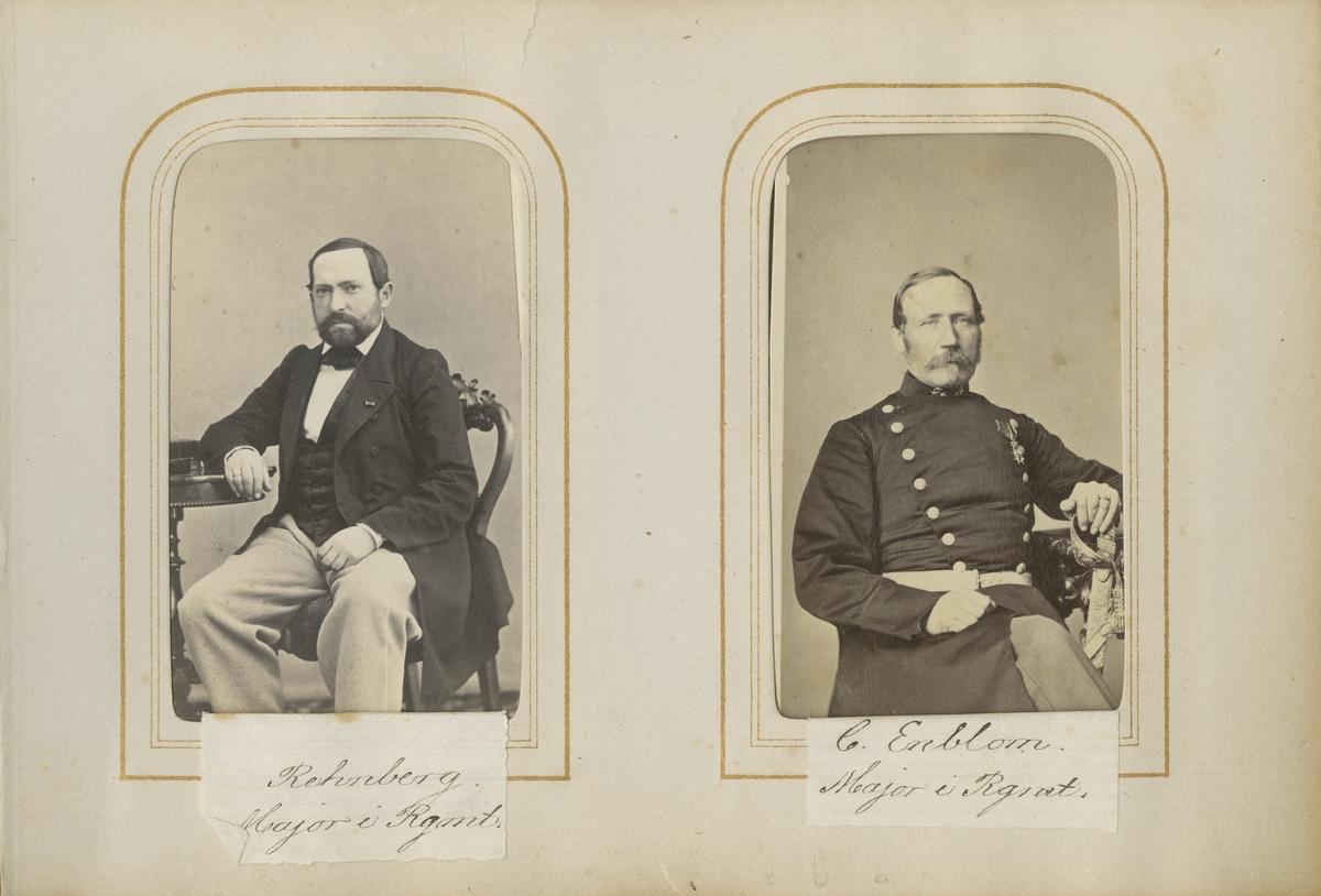 Porträtt av Carl Gustaf Rehnberg, major vid Andra livgrenadjärregementet I 5.  Se även bild AMA.0001910.