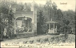Vykort med motiv över musikpaviljongen på Tivoli i Sundsvall