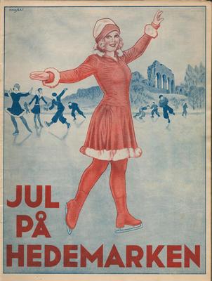 Forside på julehefte som viser isdanserdame i rødt og domkirkeruinene i bakgrunnen.