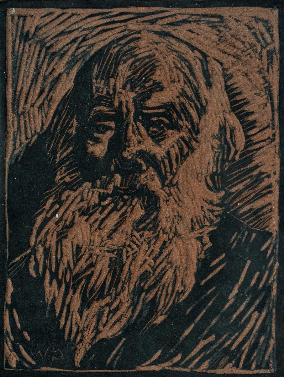 Snitt med portrett av Ivar Mortensson-Egnund, signert C.W.