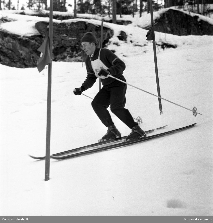 Distriktsmästerskap i Sundsvalls slalombacke. Två första bilderna visar Ingrid Englund.