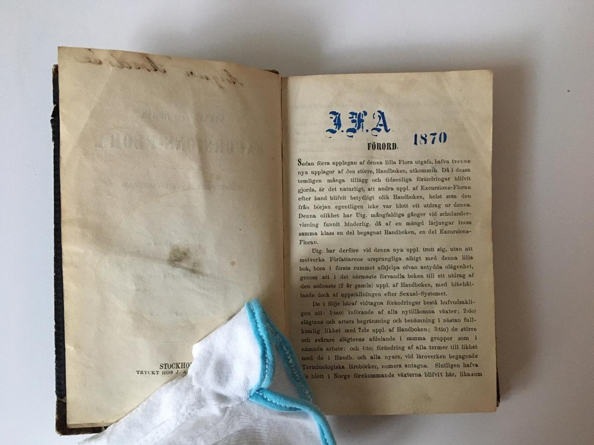 """Liten bok på 201 sidor. Ryggtitel: """"Flora"""". Titelsidan: """"Svensk och Norsk Excursions-Flora. Phanerogamer och Ormbunkar."""" Tredje upplagan. Förordssidan har en stämpel """"I.F.A.  1870"""", sannolikt avseende Ivar Fredik Andrée.  Understrykningar på flera ställen samt pressade blad (av ormbunke?) på uppslag 162-163 samt180-181."""
