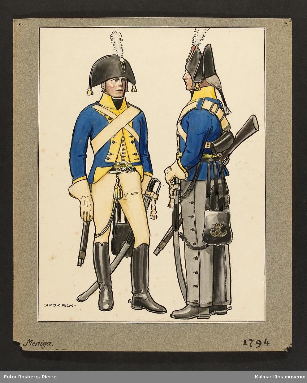 Motiv med meniga som visar utrustning, uniform och tillbehör vid Smålands husarregemente 1794.
