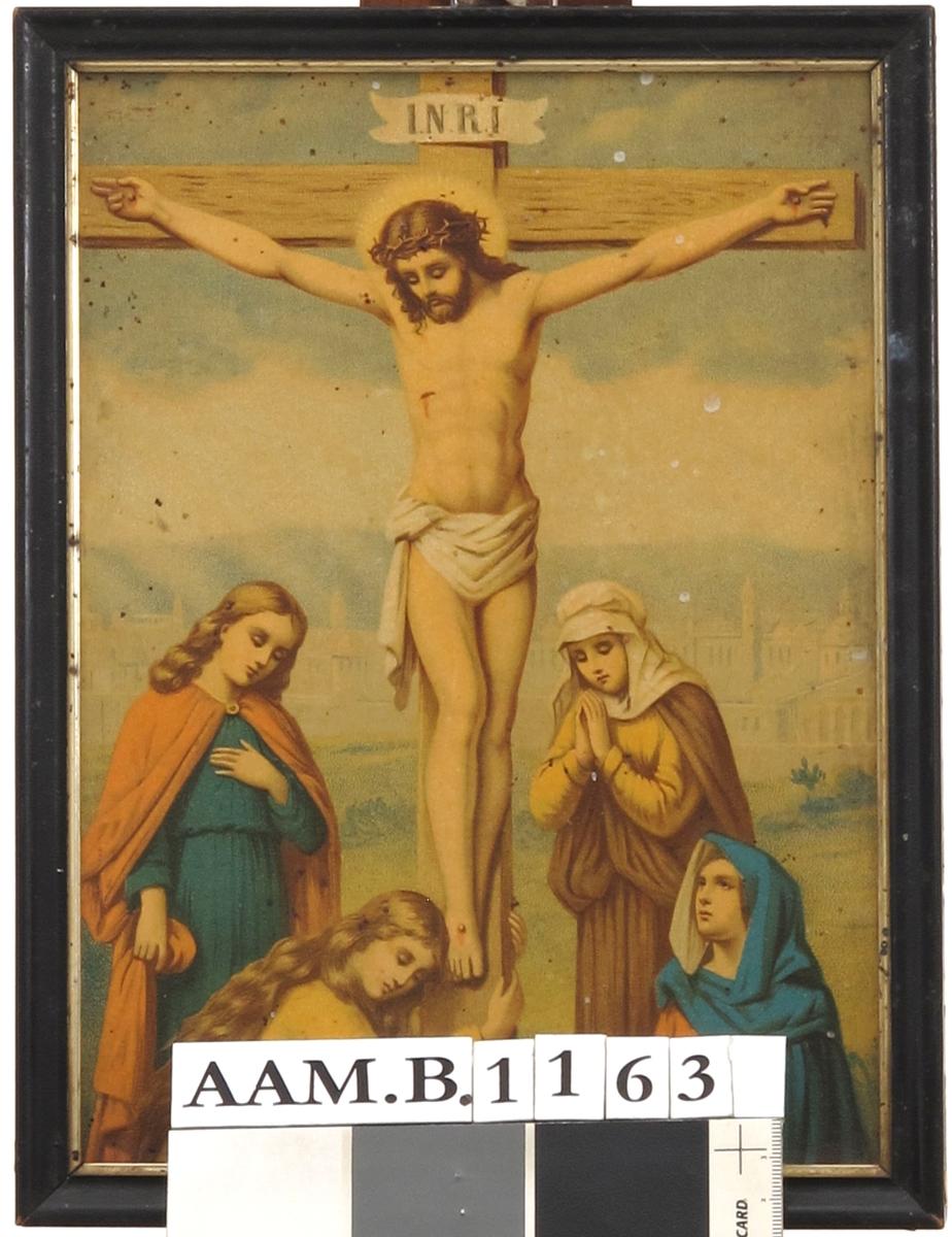 Korsfestelsen. Maria-ene og Johannes, og Jesus på korset.
