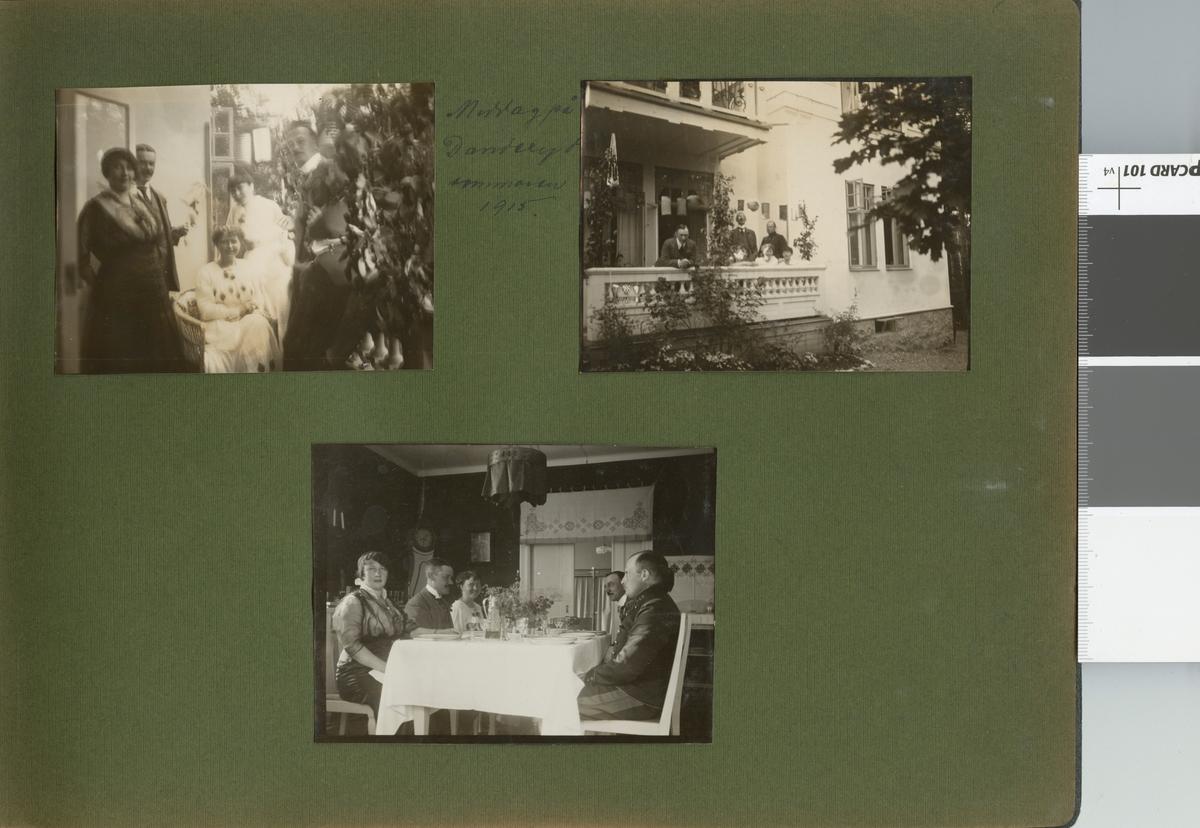 """Text i fotoalbum: """"Middag i Danderyd sommaren 1915""""."""