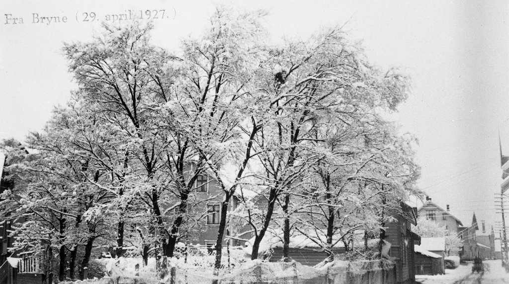 Snømotiv frå Bryne ved Vaaland sitt hus.