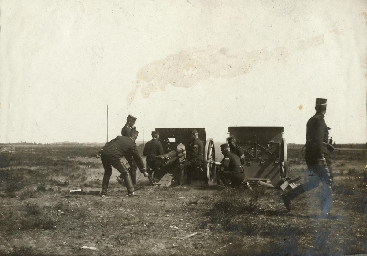 Skjutövning med 7,5 cm kanon m/1902, Fortifikationen.