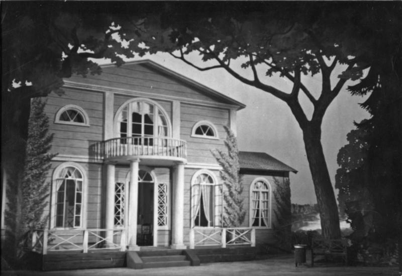 Kulisse til oppsetningen av Tsjaikovskijs opera «Eugen Onegin» på Kungliga Teatern i Stockholm våren 1947.
