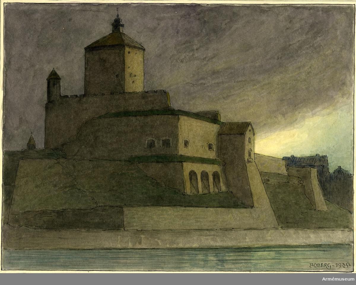 Grupp MI. Akvarell av arkitekten Ferdinand Boberg föreställande Narva, Hermansburg.