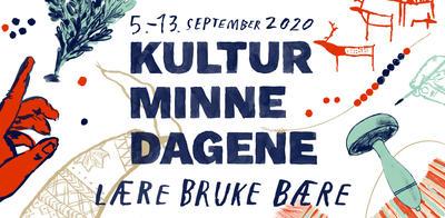 """Plakat til Kulturminnedagene 5.-13. september 2020 med tema """"lære, bruke, bære"""""""