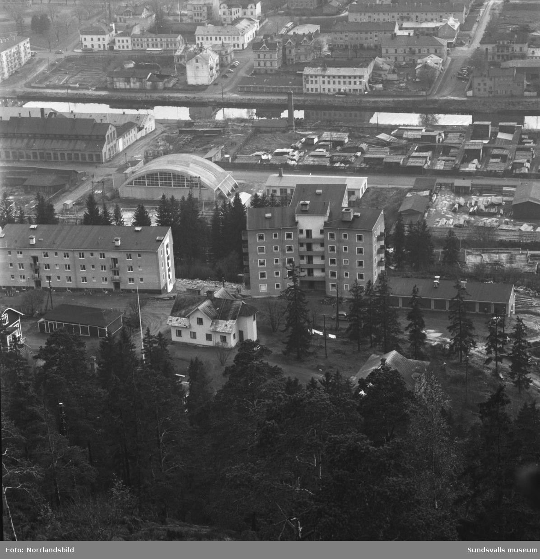 Vyer från Norra berget mot Alliero. Bland annat syns en del av byggnaderna vid gamla epidemisjukhuset.
