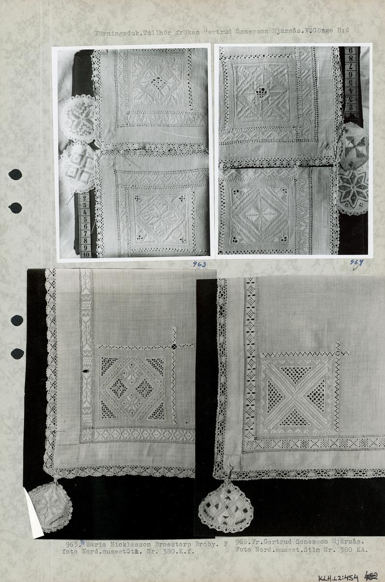 Kartongark med fyra foton av förningsduk.