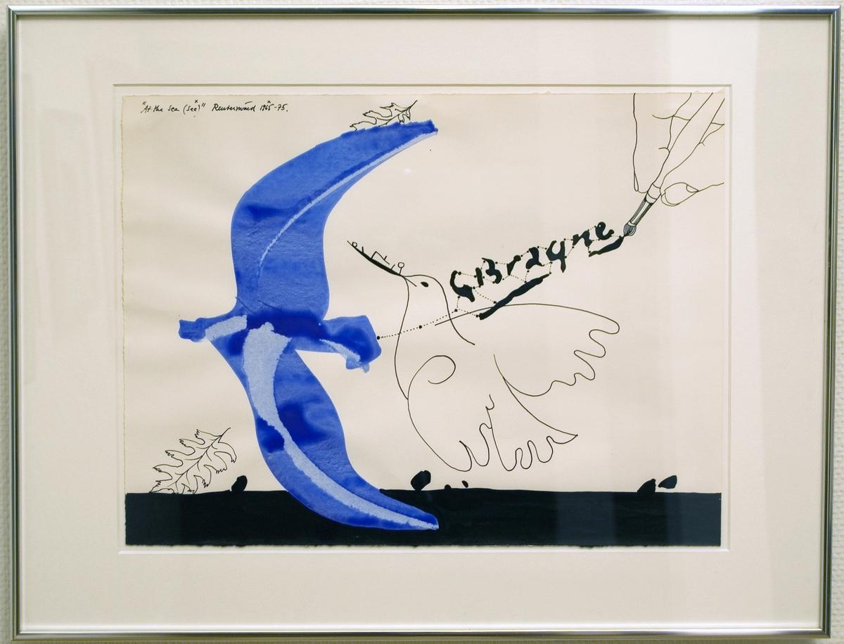 """Akryl- och lackmålning av Carl-Fredrik Reuterswärd, 1975, """"At the sea""""."""