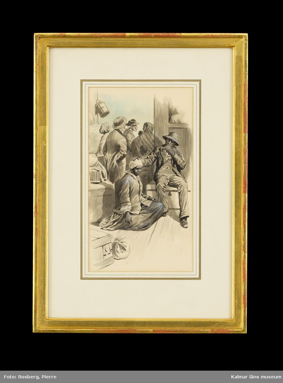 I ett rum sitter en svart kvinna klädd i jacka och lång mörk kjol på golvet. Till höger om henne sitter en svart man på en koffert eller kista. Han är klädd i en hatt, skjorta, väst, kavaj, byxor och skor. Han klappar henne på huvudet med ena handen. I bakgrunden syns andra män och kvinnor som står framför en dörr. Till vänster på golvet syns en koffert eller en kista och en packning.
