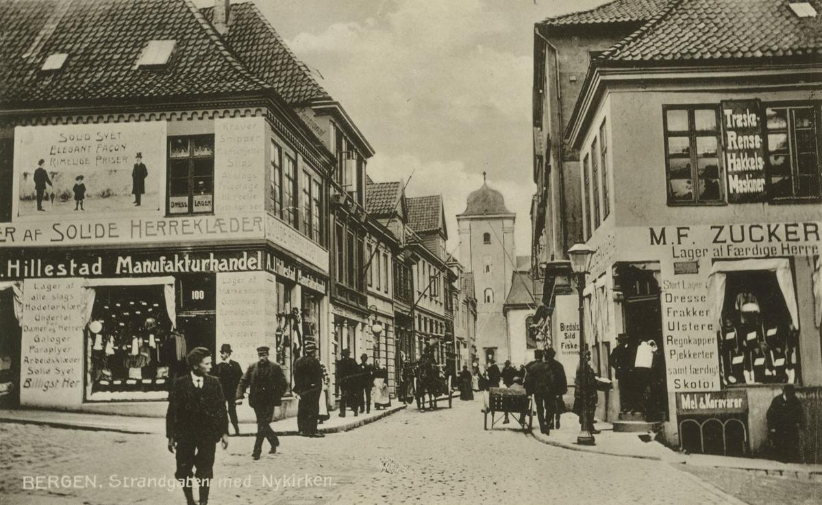 Bergen. Fra Strandgaten. Utgiver: a/s Abel, Christiania, før 1914.