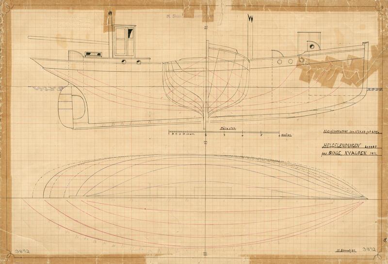 Konstruksjonstegning av en båt på gulnet papir. (Foto/Photo)