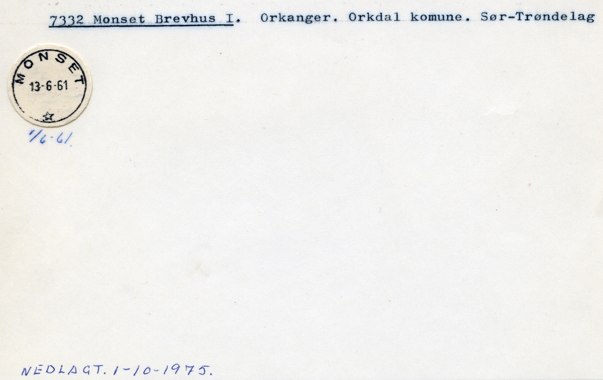 Stempelkatalog  7332 Monset, Orkdal kommune, Sør-Trøndelag