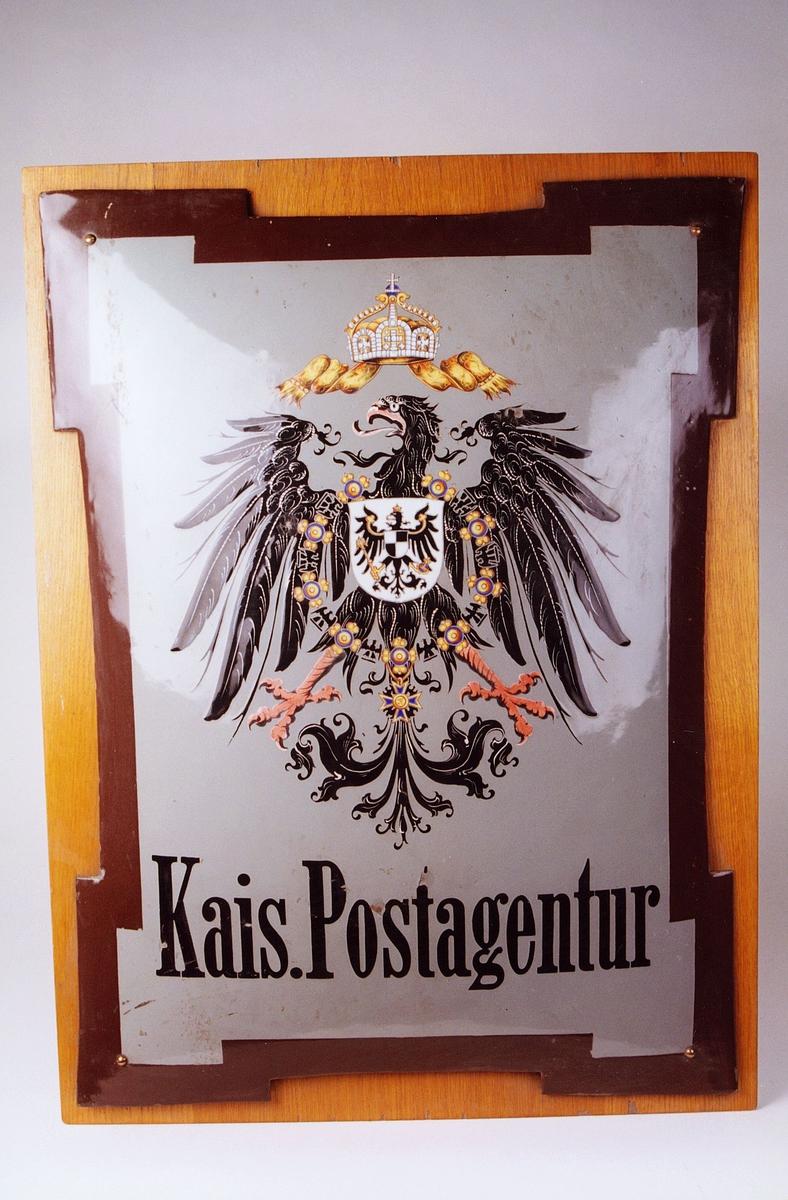 Postmuseet, gjenstander, skilt, tysk postskilt, tysk riksørn, Kais. Postagentur.