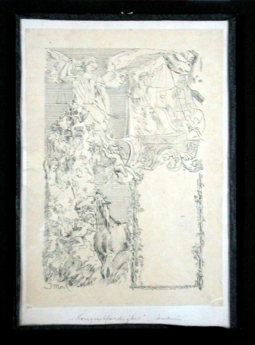 Justitia, vegetasjon, en hest og puttifigurer.I et speil sees en sittende kongefig. m. krigere og en knelende figur. Under dette et innrammet felt (til tekst?)