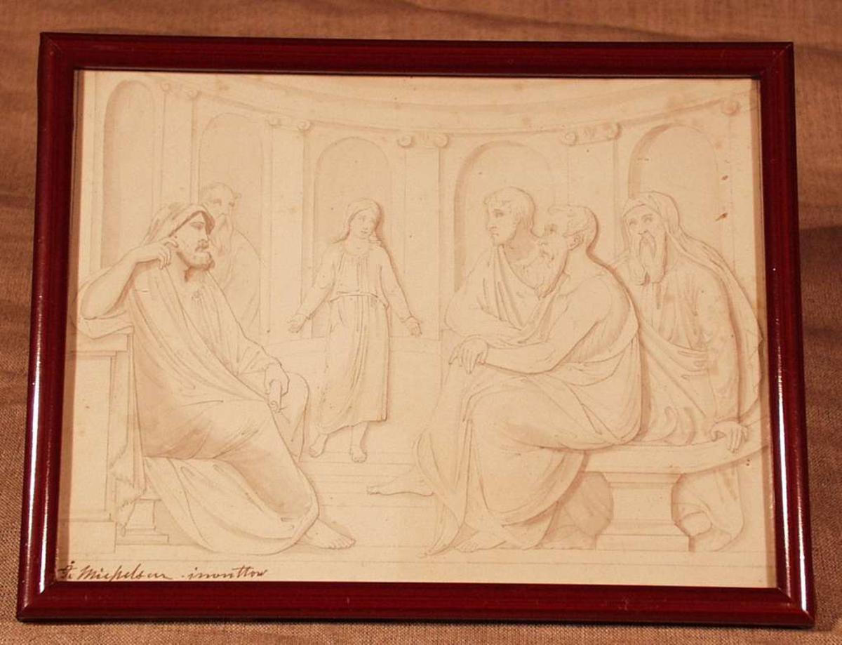 Innrammet i glass og smal mahognyramme. Christus som barn i templet