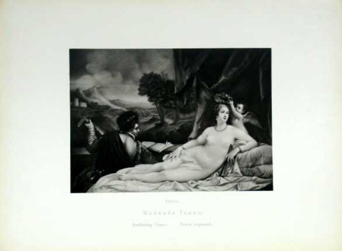 En hvilende Venus blir bekranset av en amorin. Ved føttene hennes sitter en mann og spiller for henne. Landskap med borg i bakgrunnen.